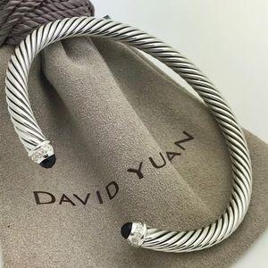 David Yurman Black Onyx Sterling Cable Bracelet